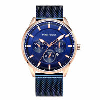 Mens Quartz Watch Blue Face Aolly Case Three Dials Design Time Calendar Casual