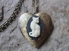 Antique Look, Cat Lover, Cat Memorial, Pet Kitty Cat Cameo Bronze Heart Locket -