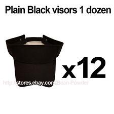 ***BLACK*** WHOLESALE LOT OF 12 PLAIN BLANK SOLID SPORTS SUN VISORS