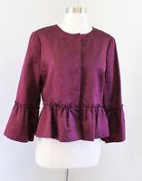 BCBG Max Azria Burgundy Embossed Cheetah Silk Wool Peplum Blazer Jacket Size M