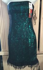 $370 VIVIENNE TAM Designer Dress Size 0 Green Black Sequins XS Extra Small