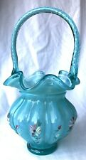 Fenton Hand Painted Aqua Green Crest Melon Basket Raised Flowers Signed