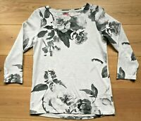 """JOULES T Shirt Top """"Harbour Print"""" Grey Floral Long Sleeved Jersey Tee UK10 EURS"""