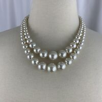 Faux Pearl Multi Strand Necklace Vintage Beaded Mid Century Japan Hook Double