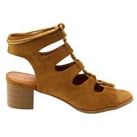 f7993fedadd9 Lace Up Gladiator Sandals Low Heel Open Toe Block Heel Womens Shoes Tan