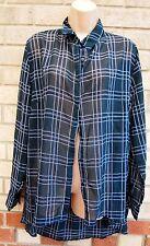 PRIMARK GREEN WHITE BLUE CHECKED TARTAN LONG SLEEVE T SHIRT BLOUSE TOP 14 L