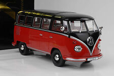 1962 VOLKSWAGEN t1 VW Bulli Bus Samba 9 seggi 25 finestra ROSSO NERO 1:18 KK