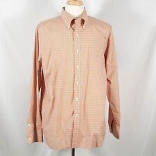 Men's Polo Ralph Lauren Orange Plaid 120's Poplin Long Sleeve Button Up Shirt-XL