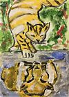 Original ACEO Painting Cat Tiger Tabby Miniature Card Art By Carole Collins