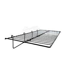 """Gridwall 12"""" X 24"""" Straight Shelf Box Of 3 - Black - Fits All Grid Wall Panels"""