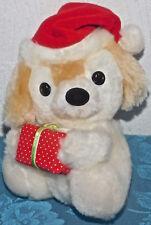 "RUSS BERRIE BROWN WHITE SANTA PUPPY DOG MUFFIN #193 Plush Stuffed Animal 6"" TOY"