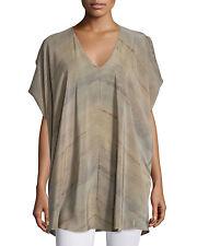 NWT $278 Eileen Fisher Mocha Short-Sleeve Grove-Print Silk Tunic 2X