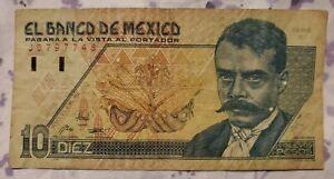 1992 México 10 Nuevos Pesos Banknote