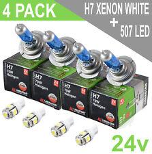 4 x White 24v Xenon H7 Headlight + LED 507 Side Light Hella Spot 320FF HGV Truck