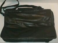 TUMI Black Leather Bag Organizer Laptop Briefcase Messenger Bag Expandable