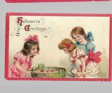pk27852:Postcard-Signed Frances Brundage Hallowe'en Greetings-Bobbing Apples