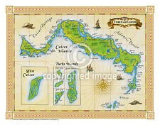 "19.5 x 25"" Turks & Caicos Vintage Look Map Printed on Frenchtone Parchment Paper"
