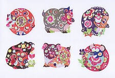 Handmade Chinese Paper Cuts Pig Set 10 colorful small pieces Zhou