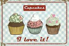 Blechschild - CUPCAKES - I LOVE IT - COLLAGE SHABBY CHIC RETRO 20x30 cm 23065