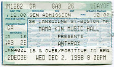 Anthrax 12/2/1998 Threat Is Real Tour Concert Ticket! Mama Kin Hall Boston,Ma