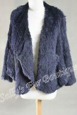 NEW 100% RABBIT FUR DRAPE FRONT LONG SLEEVE JACKET NAVY FREE SIZE