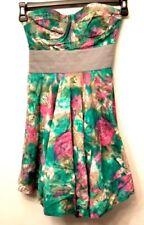 Elizabeth and James Silk Dress 0 Strapless Corset Bustier Graphic Silk Blend