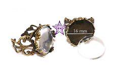 2 Bases anillos bronce vintage + 2 cabuchon cristal 16mm abalorios fornituras