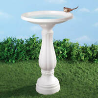 Durable White Finish Outdoor Garden Birdbath