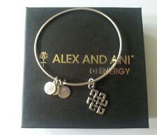 Alex and Ani ENDLESS KNOT Charm Bangle Bracelet BOX Vintage 66 Russian Silver