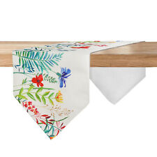 Natural Colorful Flowers Cotton Linen Table Runner, Double Layer 14*72inch