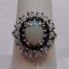 *Estate~Genuine Opal & Sapphires 925 Sterling Silver Halo Cocktail Ring Size 7