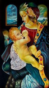 Original Art Painting  Canvas Madonna Cuban Art Arte Cuba YOANDRIS