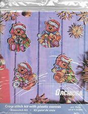 CHRISTMAS TEDDY ORNAMENTS CROSS STITCH KIT.  PLASTIC CANVAS.  4 DESIGNS