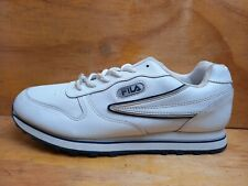 Fila Men's Low White Leather Lace up Trainers UK 10 EUR 44.5