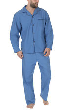 Cookies And Cream Mens Traditional Woven Pyjama Set Light Blue Marl 3XL