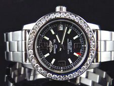 Custom Ladies Breitling Aeromarine Black Colt 33 A77387 Diamond Watch 2.5 Ct