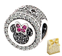 Silver Sterling Disney Mickey Minnie Mouse Charm Fit branded bracelet+gift box