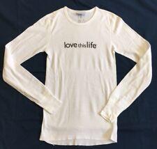 "Womens ""Love This Life"" White Thermal Long Sleeve Tee Sz XS LKNW!!"
