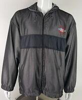 US Polo Assn Mesh Jacket Windbreaker Size Men's Large Grey Black Zip Up Hooded