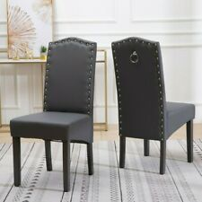 Dining Chairs Faux Leather, Chrome Knocker, Wipeable, Spill Resistant, Resilient
