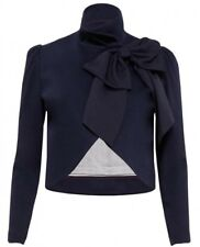 Alice + Olivia Addison Bow Cropped Jacket Navy Blazer  Size M NWOT