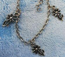 Armband mit drei Blumen *gemaserte Ankerkette* silberfarben Damen/Kinder
