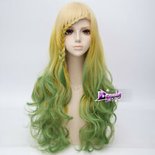 "27"" Yellow Mixed Green Long Curly Hair Lolita Anime Ombre Wig + Cap Cosplay"