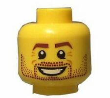 LEGO - Minifig, Head Beard Stubble, Brown Eyebrows & Open Smile Pattern - Yellow