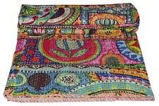 Indian Reversible Kantha Quilt Multi Single Bedspread Bedding Blanket Throw Art