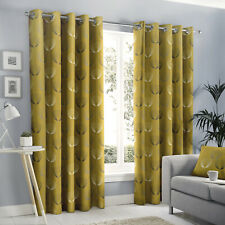 Ochre Mustard Modern Abstract Floral Print Lined Eyelet Ring Top Curtains Pair