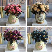 Realistic 6 Branches Autumn Artificial Fake Peony Flower Arrangement Home Decor