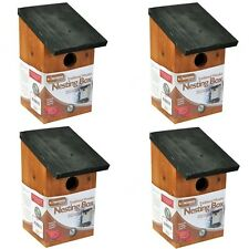 4 X WOODEN NESTING BOXES NEST BOX BIRD HOUSE SMALL BIRDS BLUE TIT ROBIN SPARROW