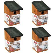 4 X WOODEN WOOD NESTING NEST BOXES BIRD HOUSE SMALL BIRDS BLUE TIT ROBIN SPARROW