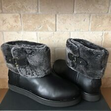 UGG CLASSIC BERGE MINI BLACK LEATHER SHEARLING ANKLE BOOTS SIZE US 9 WOMENS